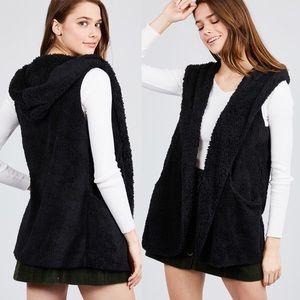 NEW Black S-2XL Black Fuzzy Hooded Vest W/Pockets